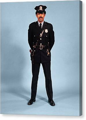 Law Enforcement Canvas Print - 1970s African American Man Police by Vintage Images