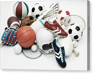 Basketball Collection Canvas Print - 1970s Assorted Vintage Sports Equipment by Vintage Images