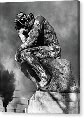 Breathing Canvas Print - 1970s Bronze Statue Of Rodins Thinker by Vintage Images