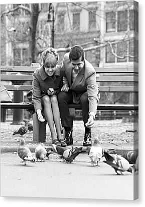 Husband And Wife Canvas Print - 1970s Couple On Park Bench Leaning by Vintage Images