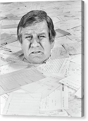 Debt Canvas Print - 1970s Distressed Man Up To His Neck by Vintage Images
