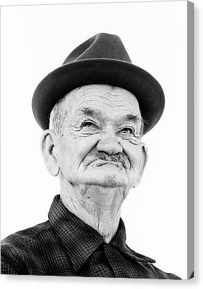 Sour Canvas Print - 1970s Portrait Elderly Wrinkled Man by Vintage Images