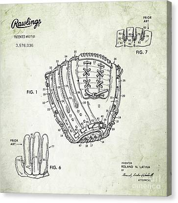 1971 Baseball Glove Patent Art Latina For Rawlings 2 Canvas Print by Nishanth Gopinathan
