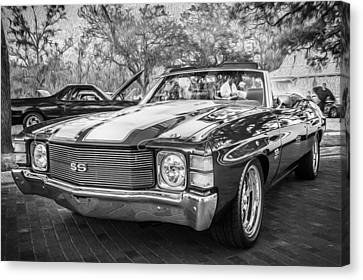1971 Chevrolet Chevelle Ss Ls1 Convertible Bw Canvas Print