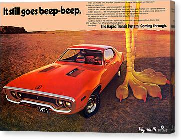 Gratiot Canvas Print - 1971 Plymouth Road Runner by Digital Repro Depot