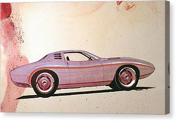 Virgil Canvas Print - 1972 Barracuda  J Cuda Vintage Styling Design Concept Sketch by John Samsen