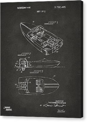 1972 Chris Craft Boat Patent Artwork - Gray Canvas Print