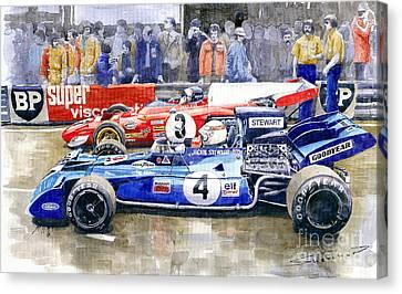 Jackie Canvas Print - 1972 French Gp Jackie Stewart Tyrrell 003  Jacky Ickx Ferrari 312b2  by Yuriy Shevchuk