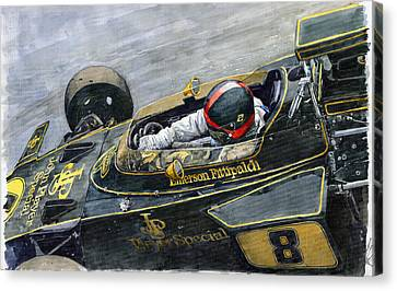 Emerson Canvas Print - 1972 Monaco Gp Emerson Fittipaldi Lotus72 D by Yuriy Shevchuk