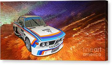 1973 Bmw 3.0 Csl Batmobile Touring Car Canvas Print by Roger Lighterness