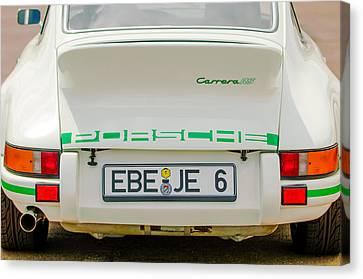 1973 Porsche 911 Rs Lightweight Rear Emblems Canvas Print by Jill Reger