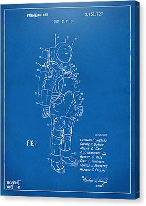 1973 Space Suit Patent Inventors Artwork - Blueprint Canvas Print by Nikki Marie Smith