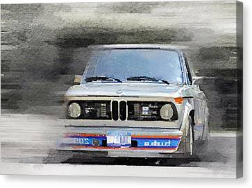 Bmw Vintage Cars Canvas Print - 1974 Bmw 2002 Turbo Watercolor by Naxart Studio