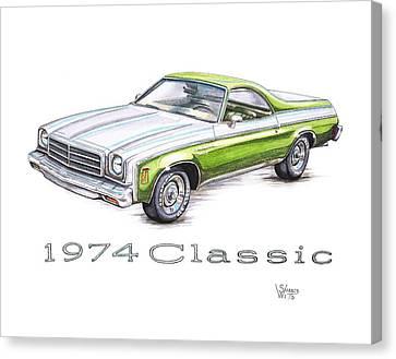 1974 El Camino Classic Canvas Print by Shannon Watts