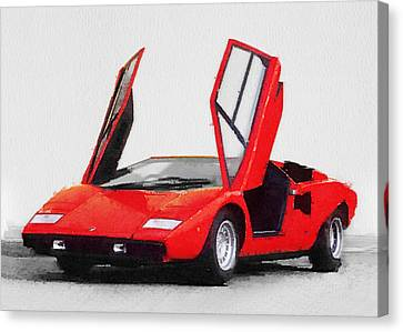 1974 Lamborghini Countach Open Doors Watercolor Canvas Print by Naxart Studio