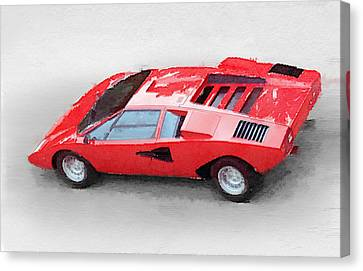 1974 Lamborghini Countach Watercolor Canvas Print by Naxart Studio