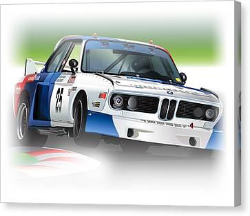 Bmw Racing Car Canvas Print - 1975 Imsa Bmw 3.5csl by Alain Jamar