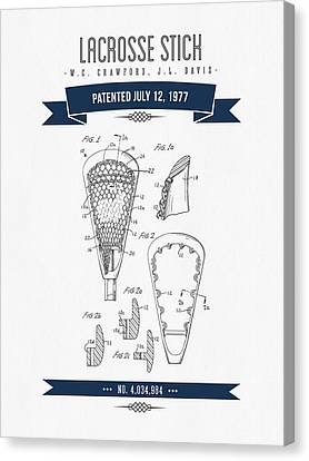 1977 Lacross Stick Patent Drawing - Retro Navy Blue Canvas Print by Aged Pixel