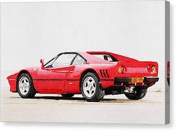 1980 Ferrari 288 Gto Watercolor Canvas Print by Naxart Studio
