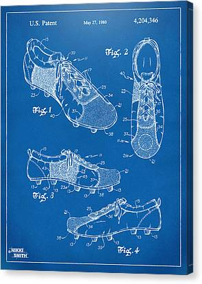 1980 Soccer Shoes Patent Artwork - Blueprint Canvas Print