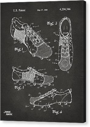 1980 Soccer Shoes Patent Artwork - Gray Canvas Print