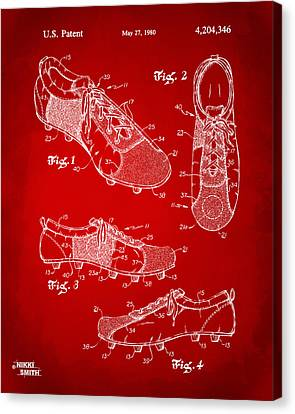 1980 Soccer Shoes Patent Artwork - Red Canvas Print
