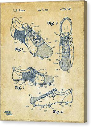 1980 Soccer Shoes Patent Artwork - Vintage Canvas Print