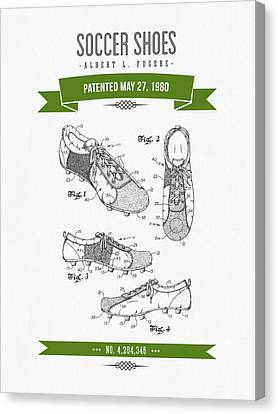 1980 Soccer Shoes Patent Drawing - Retro Green Canvas Print by Aged Pixel