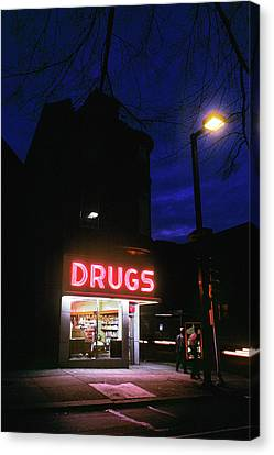 Drugstore Canvas Print - 1980s 24 Hour Drug Store At Night Pink by Vintage Images