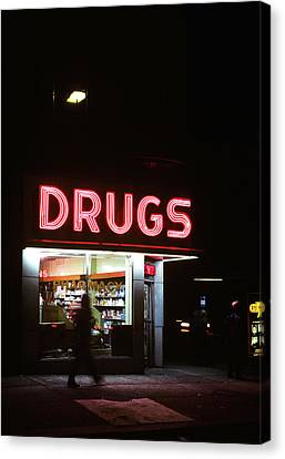 Drugstore Canvas Print - 1980s Drug Store At Night Pink Neon by Vintage Images