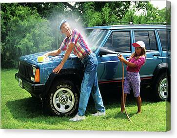 Old Grandfather Time Canvas Print - 1980s Grandfather Washing Car by Vintage Images