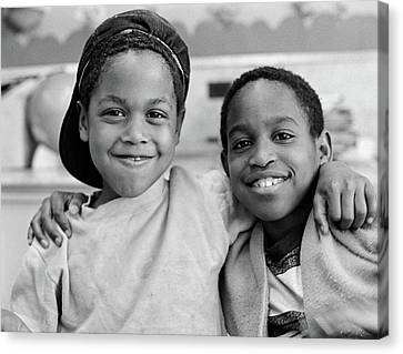 Bonding Canvas Print - 1980s Two African American Boys Smiling by Vintage Images