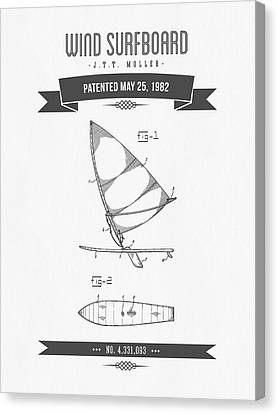 1982 Wind Surfboard Patent Drawing - Retro Gray Canvas Print by Aged Pixel