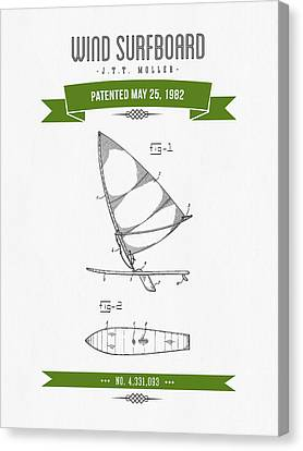 1982 Wind Surfboard Patent Drawing - Retro Green Canvas Print by Aged Pixel
