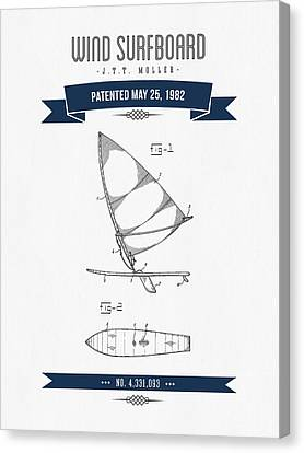 1982 Wind Surfboard Patent Drawing - Retro Navy Blue Canvas Print by Aged Pixel
