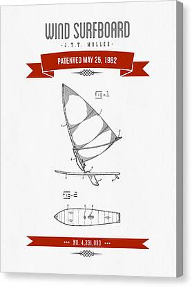 1982 Wind Surfboard Patent Drawing - Retro Red Canvas Print by Aged Pixel