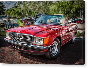 1984 Mercedes 500 Sl Painted  Canvas Print by Rich Franco