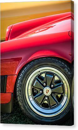 1984 Porsche 911 Carrera Wheel Emblem -2270bw Canvas Print