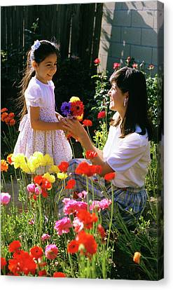 Caring Mother Canvas Print - 1985 1980s Daughter Giving Mother by Vintage Images
