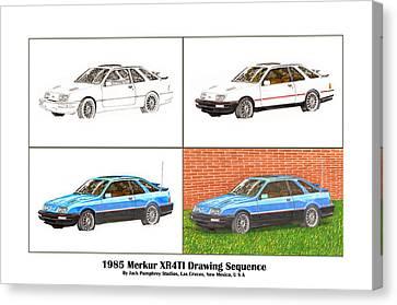 1985 Merkur Xr4ti Drawing Sequence Canvas Print by Jack Pumphrey