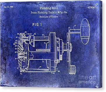 1988 Penn Fishing Reel Patent Drawing Blue Canvas Print by Jon Neidert