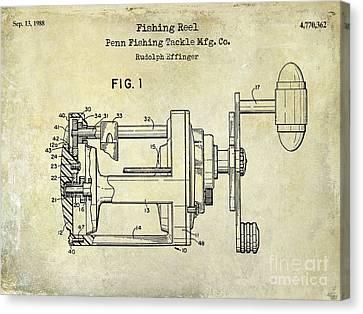 1988 Penn Fishing Reel Patent Drawing Canvas Print by Jon Neidert