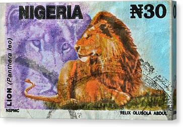 1993 Nigerian Lion Stamp Canvas Print