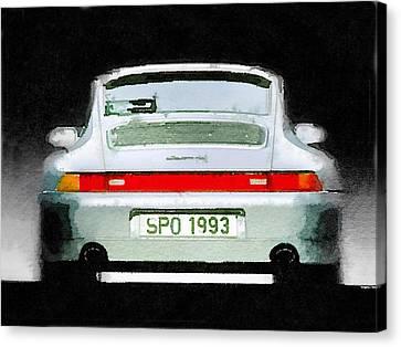 1993 Porsche 911 Rear Watercolor Canvas Print