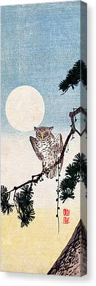 19th C. Japanese Owl At Night Canvas Print by Historic Image