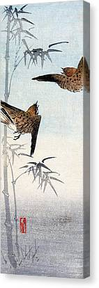 19th C. Japanese Sparrows Canvas Print