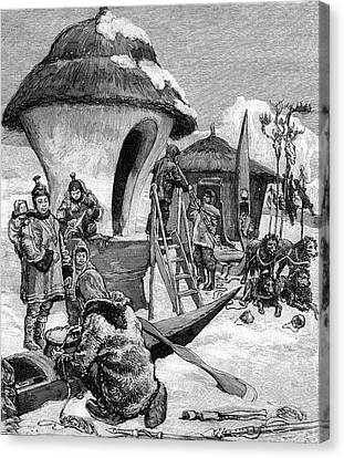 19th Century Eskimo Village Canvas Print