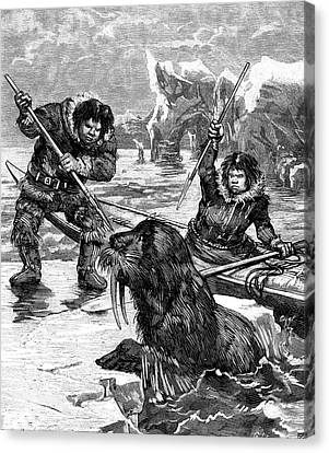19th Century Eskimos Hunting Canvas Print by Collection Abecasis