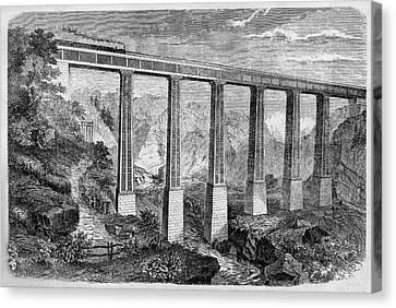 19th Century Swiss Rail Bridge Canvas Print