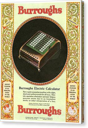 1920s Usa Equipment Burroughs Adding Canvas Print by The Advertising Archives
